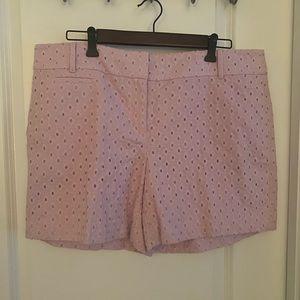 "Loft eyelet light lavender 6"" inseam shorts"